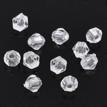 1000Pcs Bicone Acrylic Faceted Spacer Beads Clear Perles Perlas Jewelry Findings, 4x4mm/8x8mm