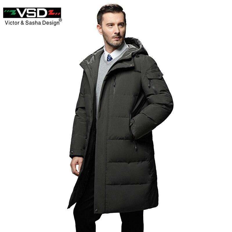 VSD Hiver Chaud Vers Le Bas Veste Coupe-Vent À Capuche Parka Mâle Grand Manteau de Col Hommes Smart Casual Bouton Couvert 5XL