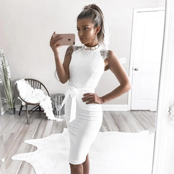 MALLSHION White Lace Dress Women Elegant Summer Party Dresses 2018 Spring Vintage Sleevess Sexy Ladies Dresses Vestidos 1