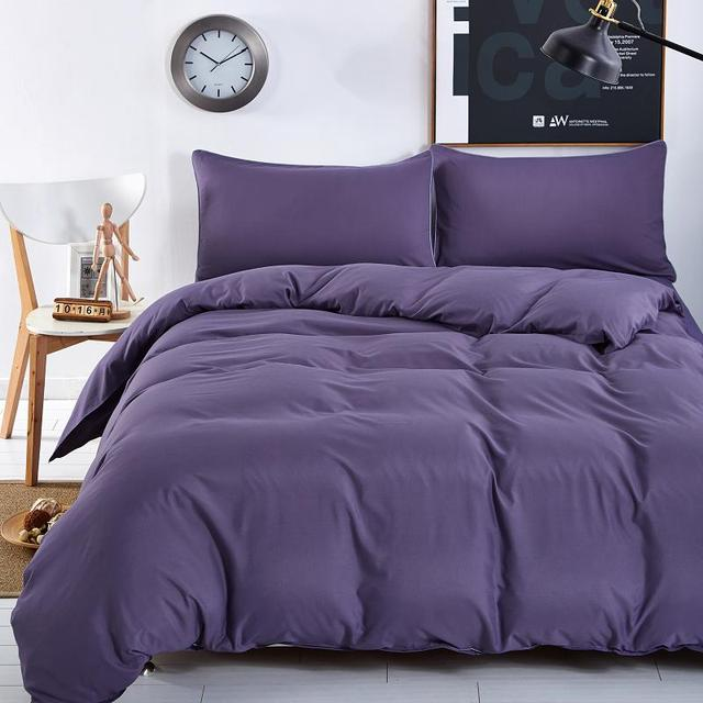 New Bedding Sets Smoked Purple Simple Color Lake Blue Striped Bed