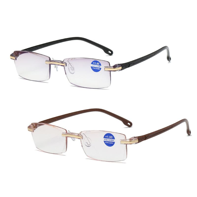 Ultralight Rimless Reading Glasses Clear Lens Unisex Anti-Blu-Ray Radiation Computer Presbyopia Readers +1.0 To +4.0 Reading
