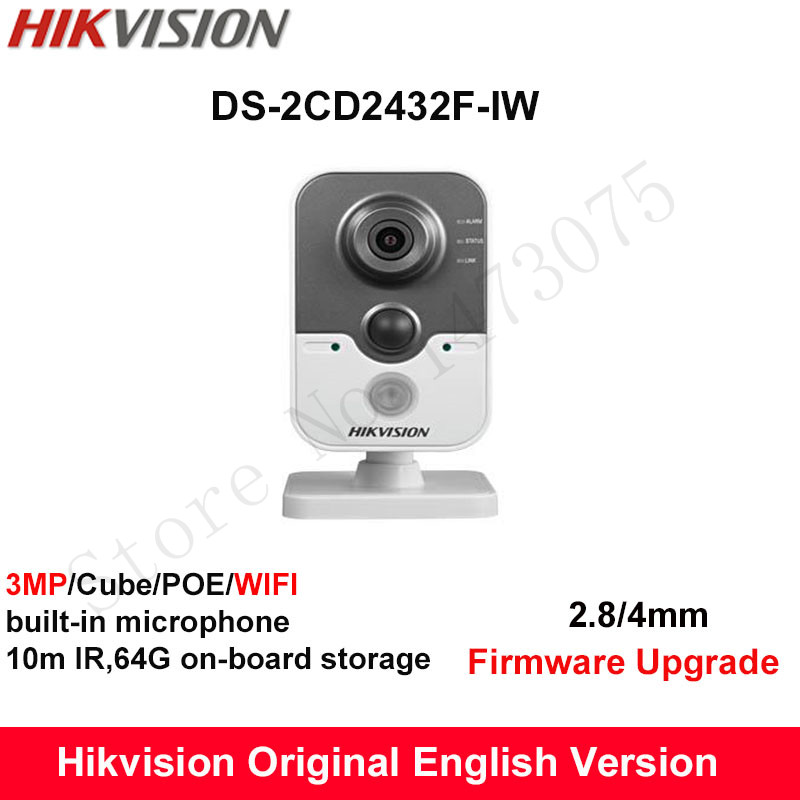 In Stock Hikvision English Mini Wifi Camera DS-2CD2432F-IW 3MP IR Cube IP Camera PoE built in Microphone Day/Night CCTV Camera стоимость
