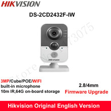 In Stock Hikvision English Mini Wifi Camera DS-2CD2432F-IW 3MP IR Cube IP Camera PoE built in Microphone Day/Night CCTV Camera