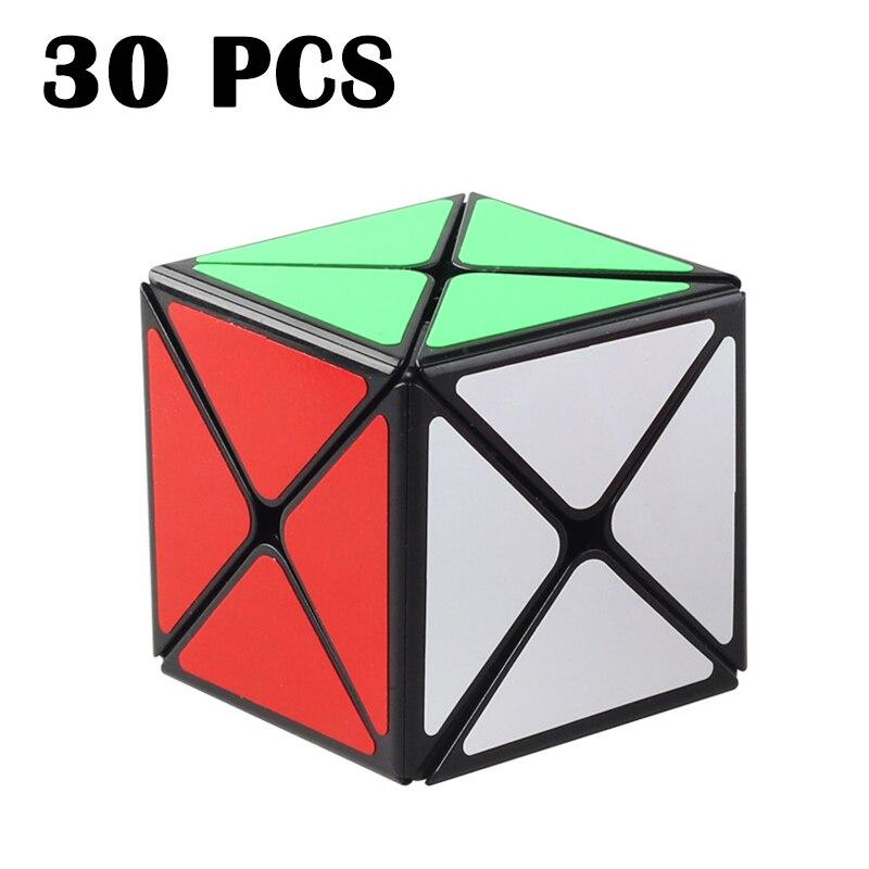 30 pièces ShengShou 73mm Huit axes cube Magique Lisse Étrange-forme Cubo magico Noir Neo Cube autocollant Coloré Puzzle cube Jouets