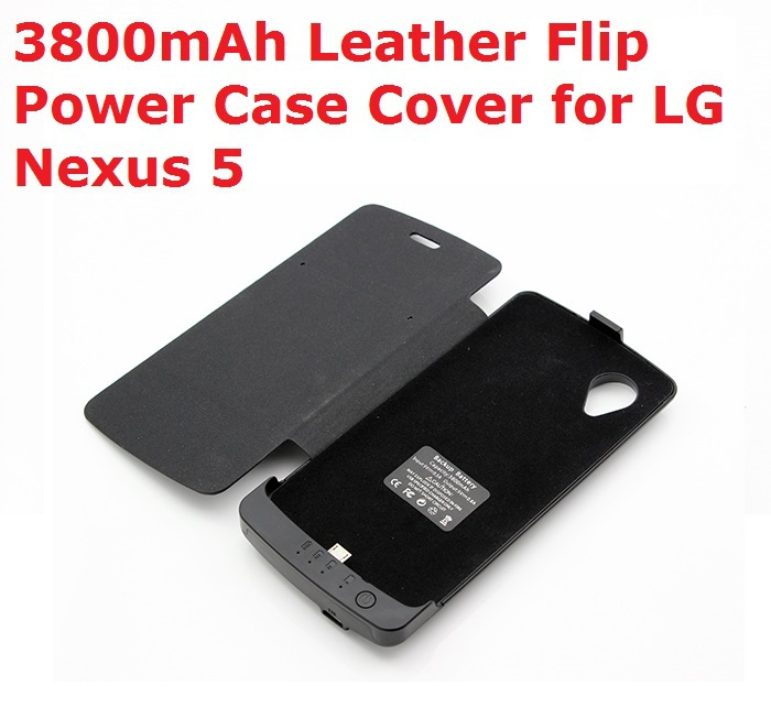 Faster Free Shipping 3800mAh Backup Battery Leather Flip Case Cover for LG Google Nexus 5 Power