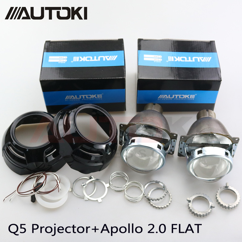 Autoki Car Styling Auto Metal Q5 3 0 inch HID Bi xenon Headlight Projector Lens Apollo