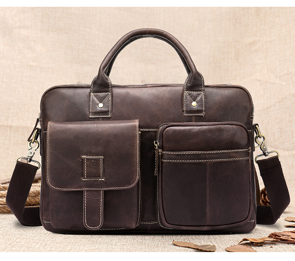 genuine leather briefcase with two big pockets at the front
