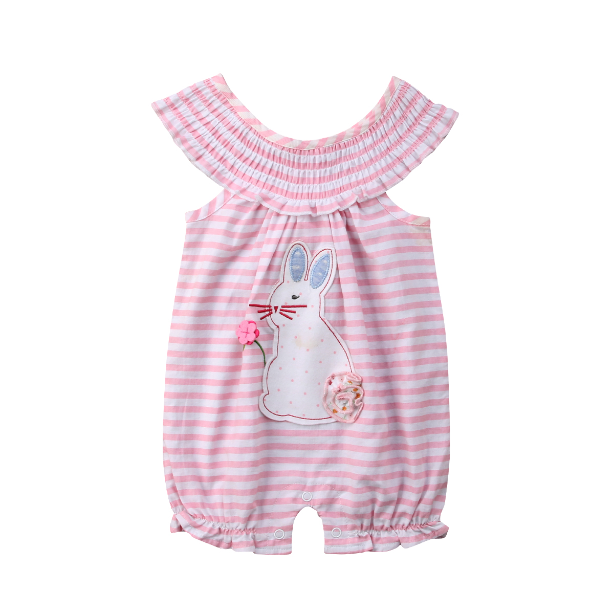 Cartoon Bunny Sleevelss Newborn Baby Girl   Rompers   Cotton Jumpsuit Summer Girl Clothing