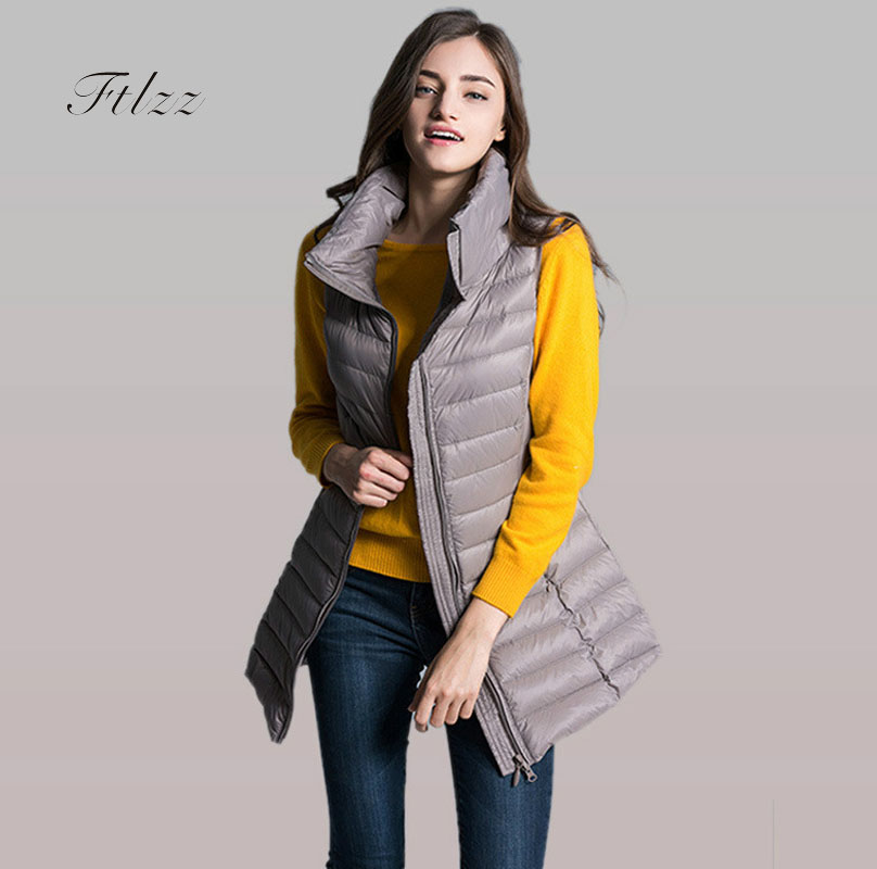 Duvet manteaux femmes Parkas nouveau 2018 décontracté manches mince moyen Long canard duvet manteau Mujer grande taille 3xl noir Ultra léger veste