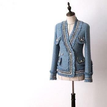Korean Fashion Elegant Blue Woman Coats Winter 2018 V-neck Long Sleeve Pearl Buttons Short Wool Coats And Jackets