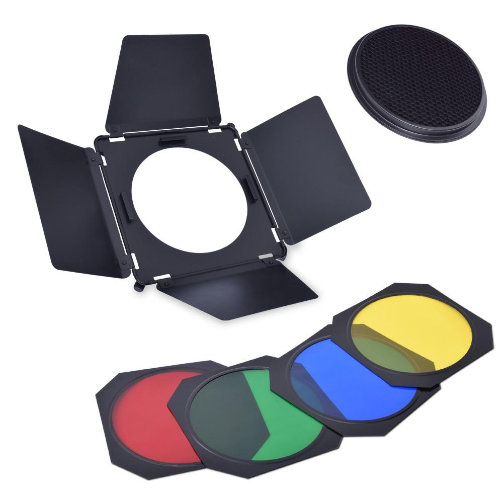 Studio Barndoor + Grid + 4 Color Filter Gel for Elinchrom 21cm Standard reflector godox bd 04 barn door honeycomb grid with 4 color gel filter for standard reflector