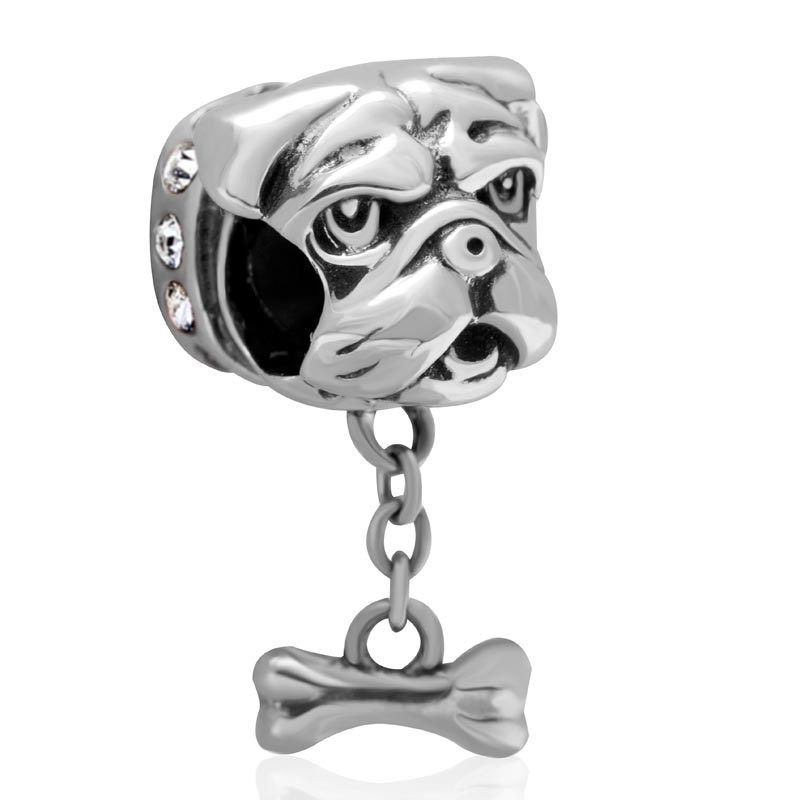 DIY Beads Dog Head With Bone Authentic 925 sterling silver jewelry Fits For Pandora Charms Bracelets