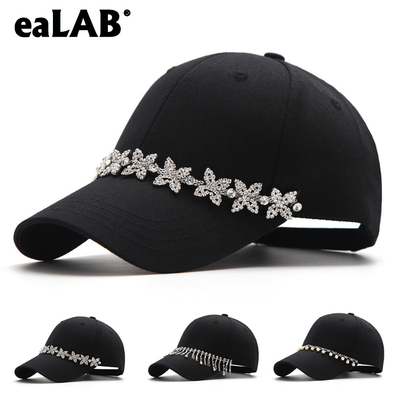 b14534027 US $16.16 |eaLAB Baseball Cap Embellish Pearl Pendant Women Cap Black Men  Dad Hat Casual Shopping Summer Sunhat Cotton Adjustable Bones Cap-in Men's  ...
