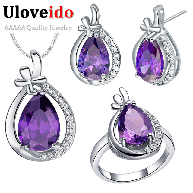 Cheap Fashion Purple Jewelry Sets for Women 925 Sterling Silver Earrings Necklace Ring Cystal Set Christmas Gifts Uloveido T460