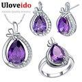 Púrpura sistemas de la joyería de moda barata para las mujeres 925 pendientes de plata de ley collar cystal anillo set regalos de navidad uloveido t460