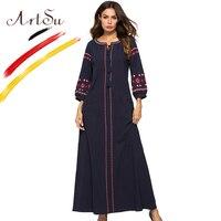 ArtSu Navy Blue Vintage Embroidery Ethnic Maxi Dress Women Tie V Neck Tassel Casual A Line Long Vestidos Robe Femme Plus Size