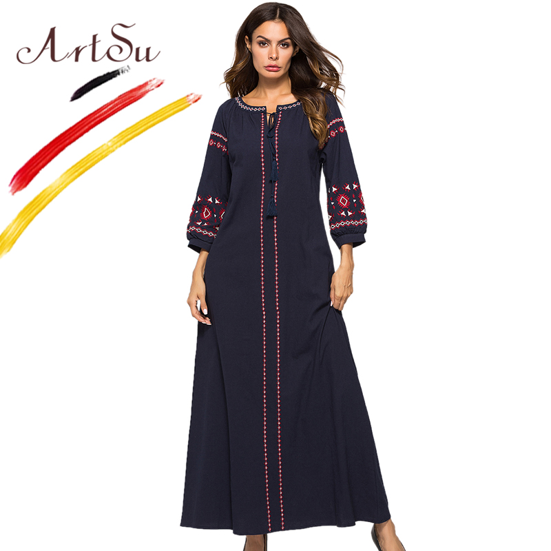 ArtSu Navy Blue Vintage Embroidery Ethnic Maxi Dress Women Tie V Neck Tassel Casual A Line Long Vestidos Robe Femme Plus Size