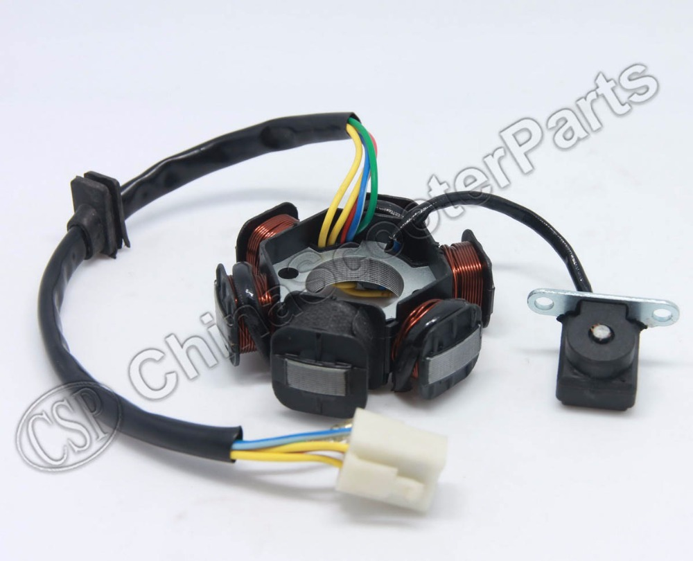 hight resolution of magneto stator 6 pole coil 5 wire 50cc 70cc 90cc 110cc 125cc lifan zongshen loncin xmotos apollo dirt pit bike atv quad parts in atv parts accessories