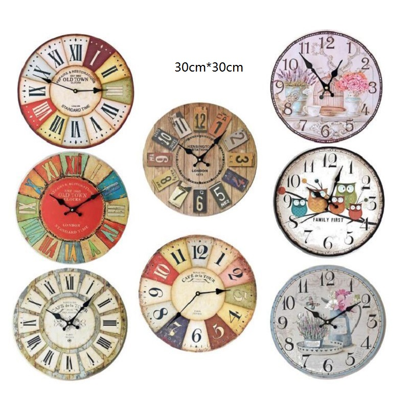Circular European-Style Color Digital Decoration Wall Clock Bedroom Study And Living Room Decor Wooden Retro Wall Clock