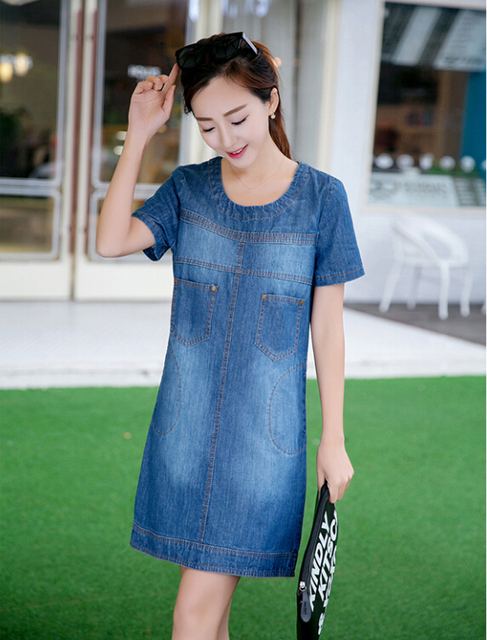 435bd9bd4f9 Short-sleeved denim dress 2015 Maternity with plus size Short Sleeve  fashion summer dress clothes for pregnant dress Women Gift
