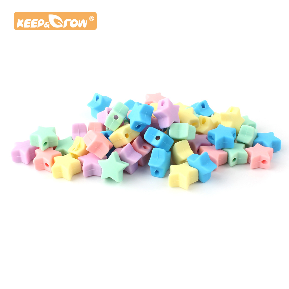 Keep&Grow 10pcs Stars Silicone Beads Accessories Food Grade Silicone Star Dummy Making Teether For DIY Teething Pacifier Chain