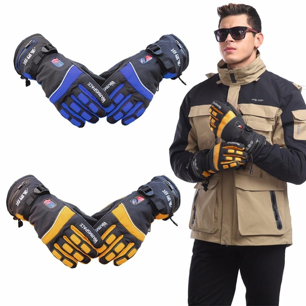 Электрический Подогрев перчатки спортивные непромокаемые лыжные перчатки контроль температуры перезаряжаемая литиевая батарея 5 пальцев ...