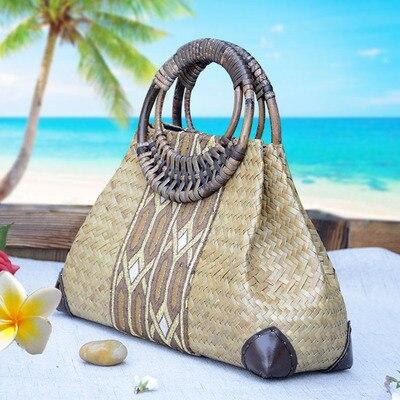 f524fd3cdbe5 US $36.96 30% OFF|Thailand Style Women Straw Bags Handmade Beach Bags  Ladies Travel Handbags Weave Straw Beach Shoulder Bag Knitting Rattan Bags  -in ...