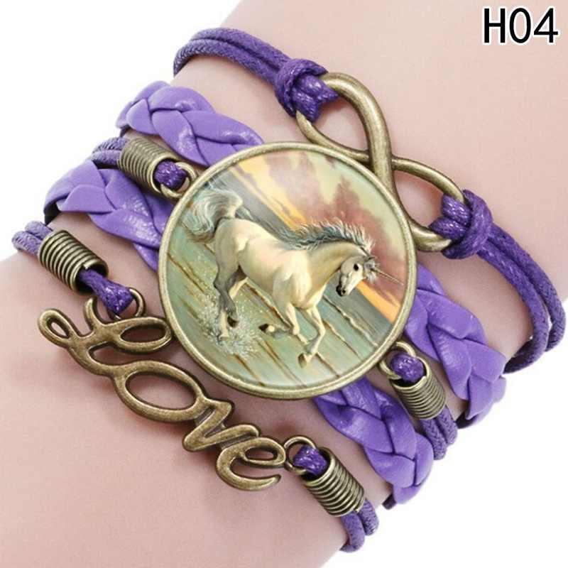 עבור אוהבי הסוסים Unicorn צמיד בעבודת יד צמידי קסם החבר הכי טוב אהבת אינפיניטי מתנת Multilayers לעטוף עור החדש Arrivall