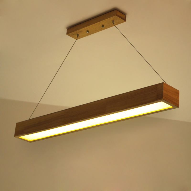 Pendant Lights LED solid wood Nordic living room lighting creative study office light modern simple wooden restaurant lights nordic creative personality dining room pendant light rectangular post modern studio light office light solid wood led lamp