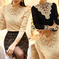 Fashion Women Sexy Long Sleeve Shirt Casual Lace Blouse Slim Fit Turtleneck Print Tops