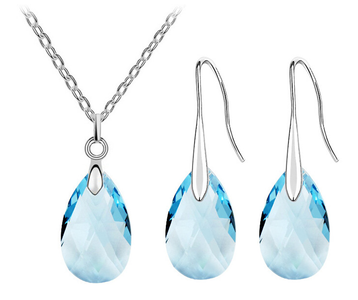 AAAA+ Austrian Crystal tear drop water pendant necklace earrings fashion jewelry sets women charm free drop shipping wed quality