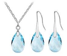 wedding party summer beach brand bridal Austrian Crystal tear drop pendant necklace earrings jewelry sets