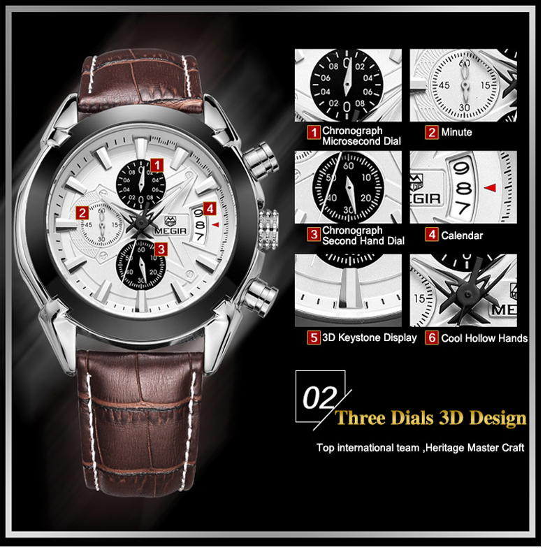 Image 5 - Relogio masculino Megir Calendar Chronograph Military Watches Men Fashion Casual Sports Genuine Leather Watch Time Clock Male-in Quartz Watches from Watches
