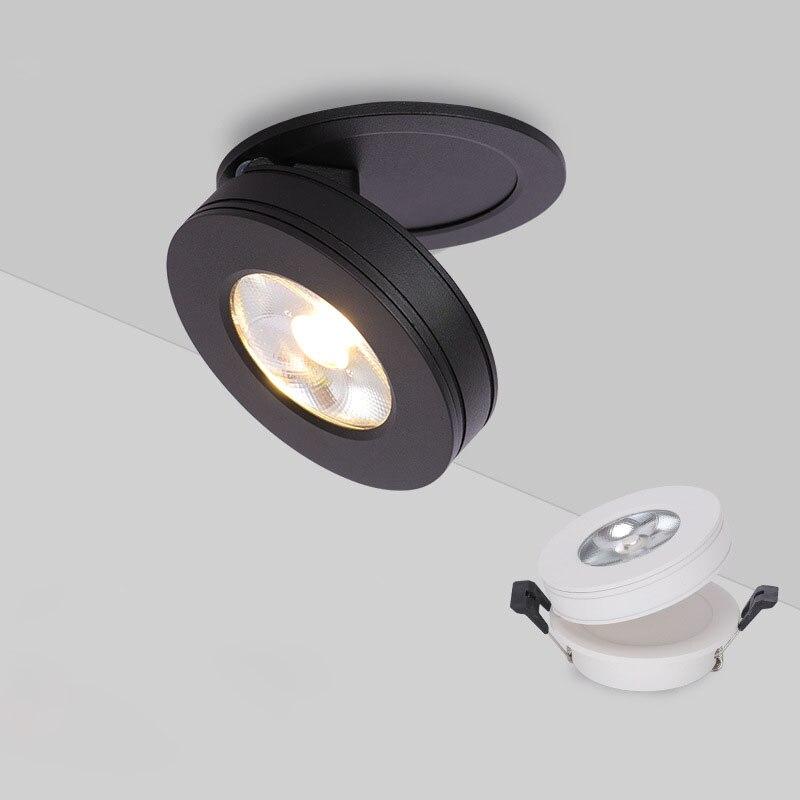 Super Ultra-fino 3W 7W 10W downlight COB Spot Light Lâmpada Do Teto Iluminação Interior Led driverless luz pista lâmpada dobrável