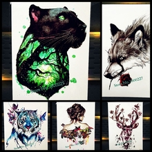 Magical Forest Jaguar Tree Temporary Tattoo Stickers Panther Fake Flash Waterproof Tattoo Body Art Leopard Heart Women Tatoo Men