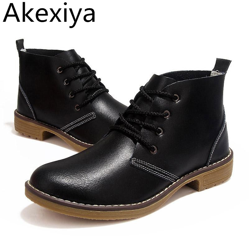 Akexiya Woman Fashion Motorcycle Ankle Boots Genuine Leather Lace Up Vogue Casual Shoes For Woman Vintage