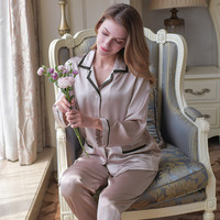 2019 New Silk Sleepwear Autumn Womens 100% Silk Pajamas Long Sleeve 2 Piece Sets Silk Pajama Set Lady Casual Home Clothes