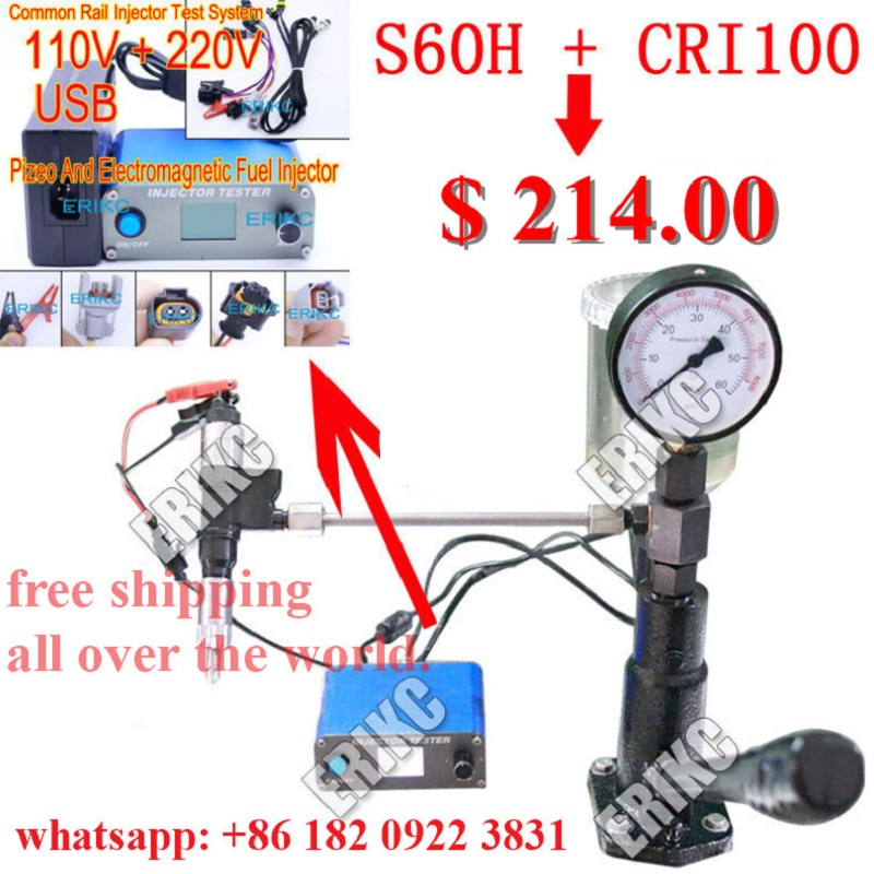 ERIKC CRI100 Injector Tester S60H Nozzle Tester Common Rail All Kind Injection Repair Kit Multifunction Diesel