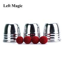 Супер Профессиональные алюминиевые три чашки и шарики с чашкой (большой), реквизит для трюка, волшебные фокусы магический фокус крупным планом иллюзия