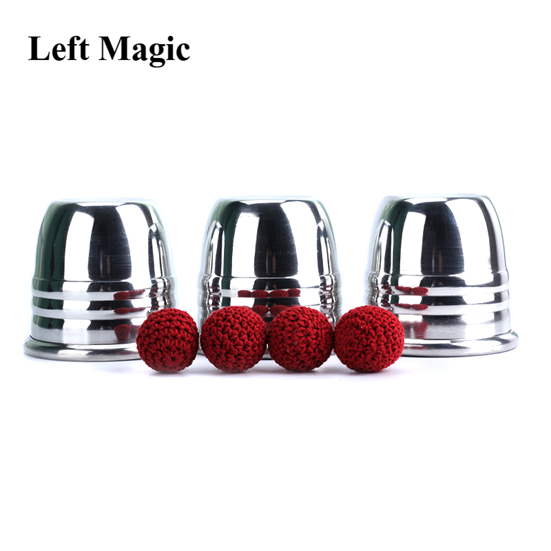 Super Professional Aluminum Three Cups And Balls With Cup (Large), Gimmick Props,Magic Tricks Magician Close Up Illusion