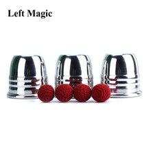 Superprofesional aluminio tres tazas y bolas con taza (grande), accesorios de truco, trucos de magia de mago ilusión de primer plano