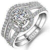כסף סטרלינג מוצק מקורית מעוקב Zirconia חתונת טבעת אירוסין סט Brial Halo להציע נצח הצהרת מבטיחים Coctail
