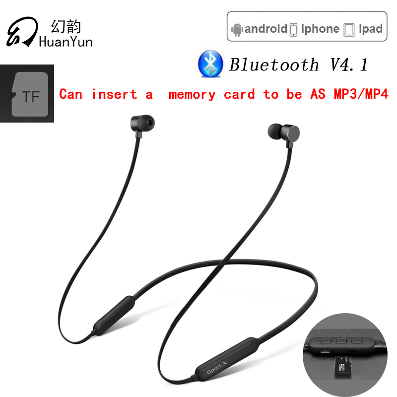 Huan Yun Wireless Bluetooth Earphone with TF Card Slot with Mic For Phone Neckband Sport Magnetic Headphone Headset Stereo Bass zealot b17 bluetooth headphone noise cancelling super bass wireless stereo headset with mic earphone fm radio tf card slot