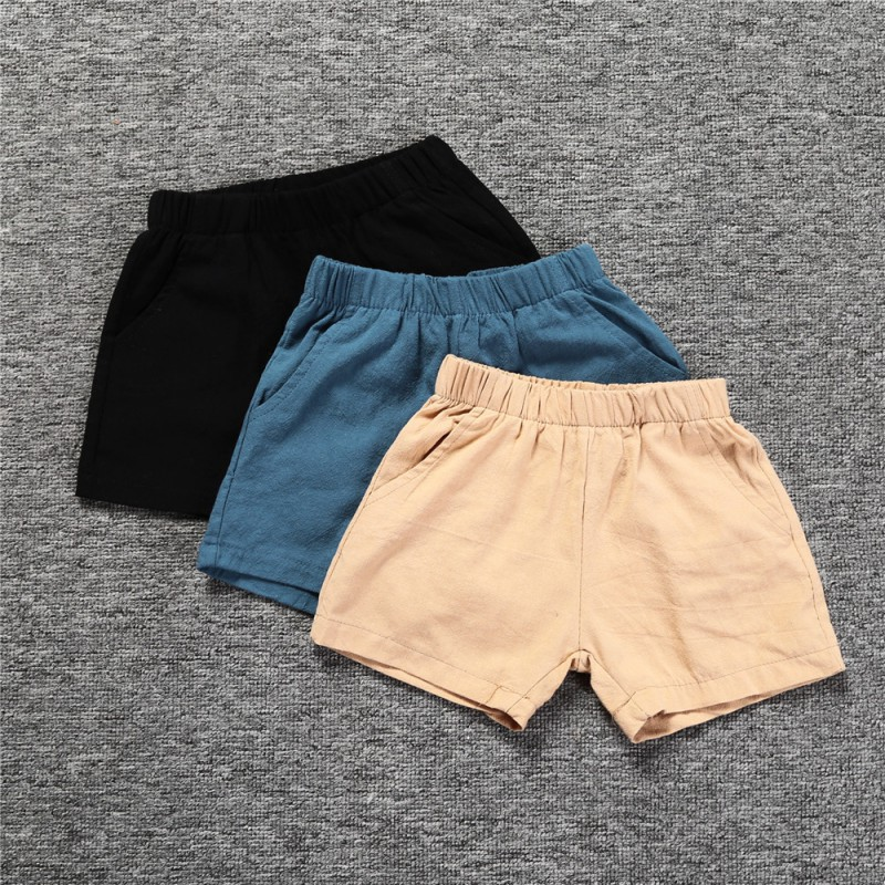 2018 Casual Kid   Shorts   Summer Cotton Sports Solid Color   Shorts   Trousers Hot Selling Blue Black Boys Pants New Arrival