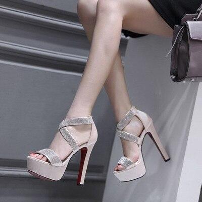 Black Bling Crystal Sexy Women Sandals High Heels 14cm  Gladiator Women Sandals Stiletto Thick Heels Wedding  Ladies Shoes Pumps