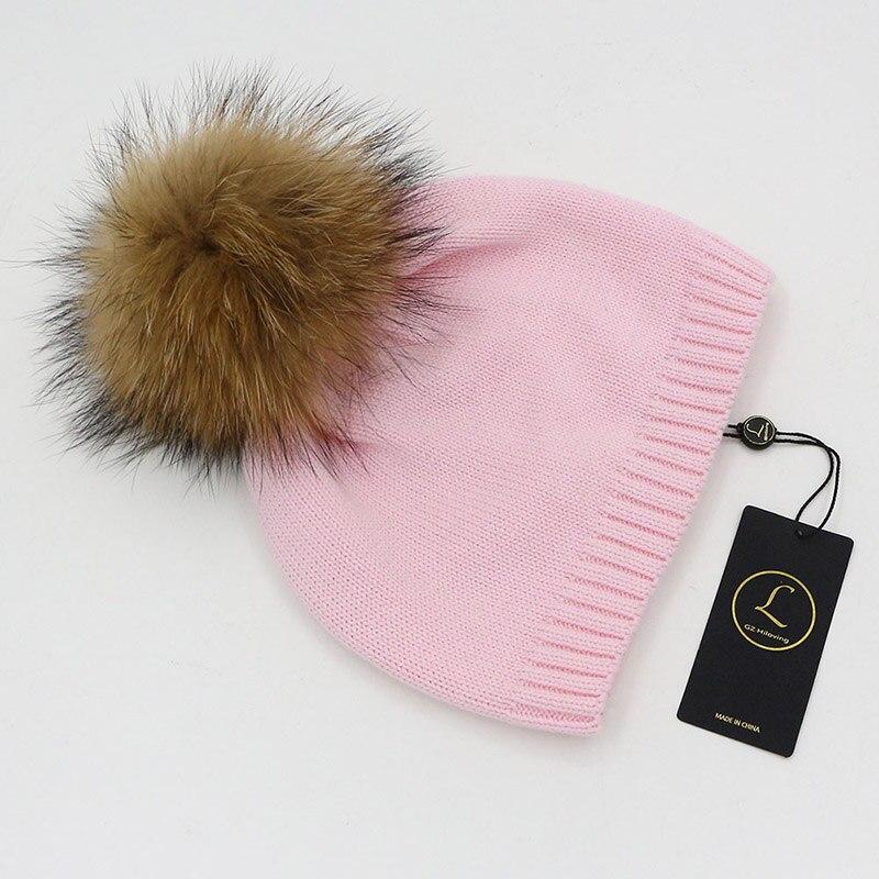 adf7fe9b50f GZHILOVINGL Wholesale Winter Crochet Knitted Kids Cotton Beanies Hats Cap  Toddler Boys Girls Children Kids Real Fur PomPom Hat-in Skullies   Beanies  from ...