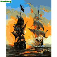 Painting Calligraphy Diy Oil Painting By Numbers Sea Boats Hand Painted Canvas Picture Coloring By Number