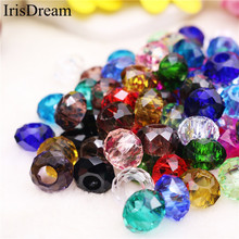 10Pcs/Lot Solid Color Cut Faceted Big Hole Crystal Plastic Crystal Glass Beads Charm Fit European Pandora Bracelet DIY Jewelry 10pcs hot cut faceted color crystal glass beads fit european bracelet spacer original pandora charm bracelet for jewelry making