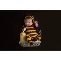 Newborn baby romper bee mohair clothes set baby jumpsuits photography props handmade knit infant photo fotografia accessories