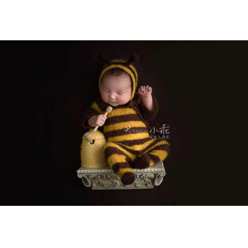 06dc392b805ab Newborn baby romper bee mohair clothes set baby jumpsuits ...